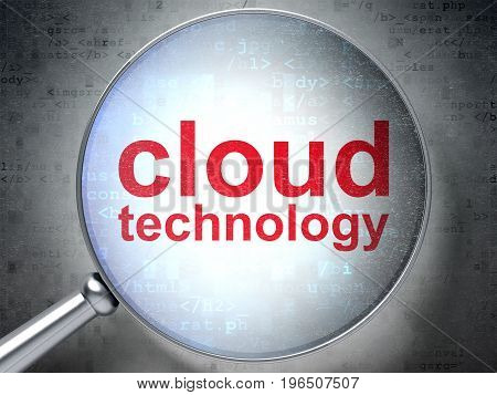 Cloud networking concept: magnifying optical glass with words Cloud Technology on digital background, 3D rendering