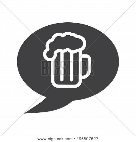 Beer order glyph icon. Cheers silhouette symbol. Chat box with beer glass inside. Negative space. Vector isolated illustration