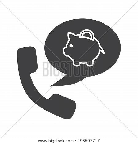 Bank phone call glyph icon. Silhouette symbol. Handset with piggybank inside speech bubble. Negative space. Vector isolated illustration