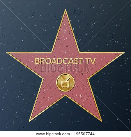 Hollywood Walk Of Fame. Vector Star Illustration. Famous Sidewalk Boulevard. Television Receiver Representing Broadcast Television.