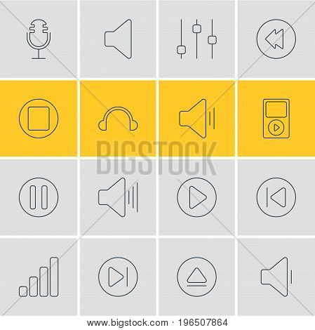 Editable Pack Of Start, Audio, Subsequent And Other Elements. Vector Illustration Of 16 Melody Icons.