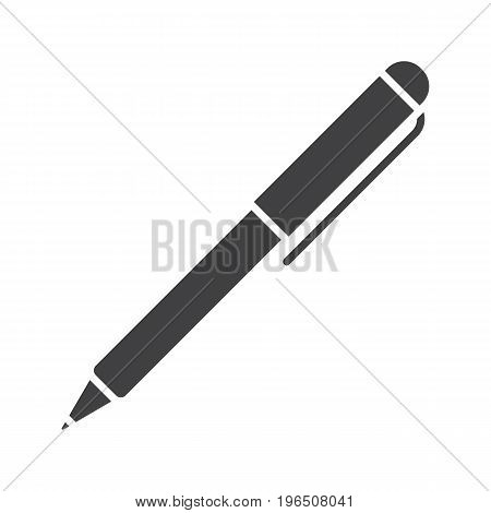 Ball pen glyph icon. Silhouette symbol. Ballpoint pen. Negative space. Vector isolated illustration
