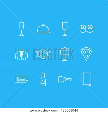 Vector Illustration Of 12 Eating Icons. Editable Pack Of Tray, Leg, Wineglass And Other Elements.