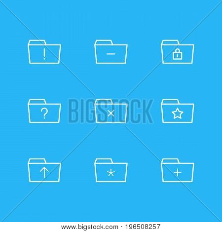 Editable Pack Of Closed, Pinned, Significant And Other Elements. Vector Illustration Of 9 Folder Icons.