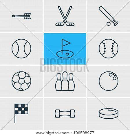 Vector Illustration Of 12 Fitness Icons. Editable Pack Of Puck, Kegling, Golf And Other Elements.