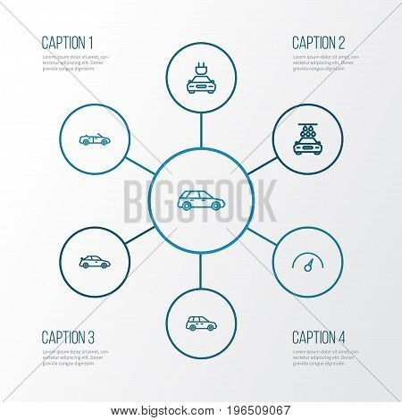 Automobile Outline Icons Set. Collection Of Hatchback, Crossover, Car And Other Elements