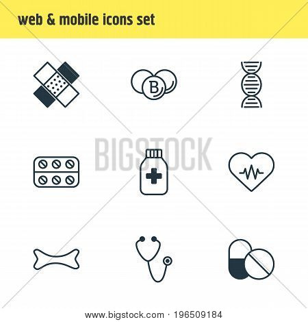 Vector Illustration Of 9 Medical Icons. Editable Pack Of Medicine Jar, Pulse, Patch And Other Elements.
