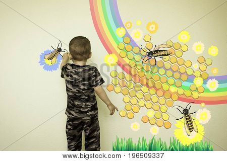Concept Of Diligence. A Little Boy Draws Bees
