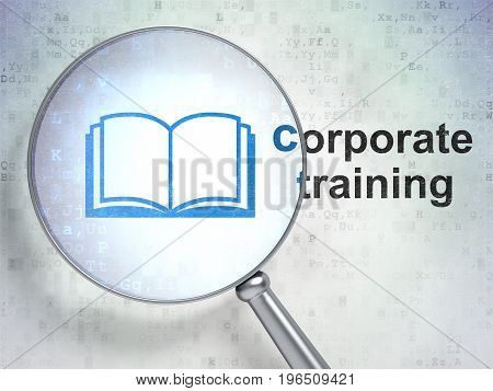 Education concept: magnifying optical glass with Book icon and Corporate Training word on digital background, 3D rendering
