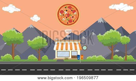 pizza food store on sidewalk with tree and mountain as background vector