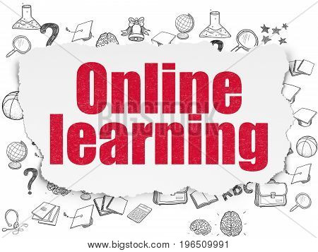 Education concept: Painted red text Online Learning on Torn Paper background with  Hand Drawn Education Icons