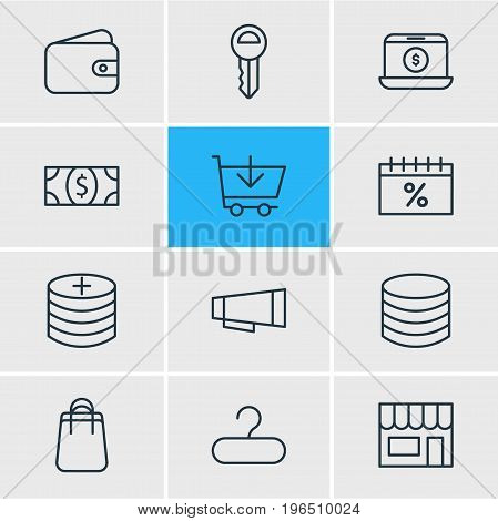 Editable Pack Of Plus, Buy, Market And Other Elements. Vector Illustration Of 12 Trading Icons.