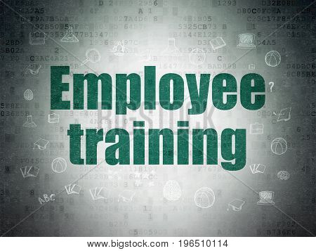 Learning concept: Painted green text Employee Training on Digital Data Paper background with  Hand Drawn Education Icons