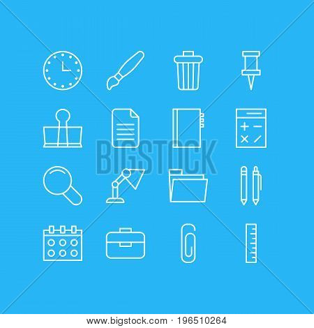Editable Pack Of Paint, Dossier, Zoom And Other Elements. Vector Illustration Of 16 Stationery Icons.