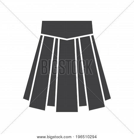 Skirt glyph icon. Silhouette symbol. Negative space. Vector isolated illustration