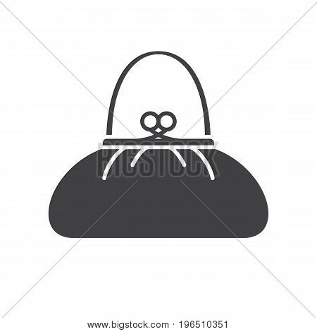 Purse glyph icon. Silhouette symbol. Women's handbag. Negative space. Vector isolated illustration