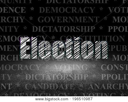 Politics concept: Glowing text Election in grunge dark room with Dirty Floor, black background with  Tag Cloud