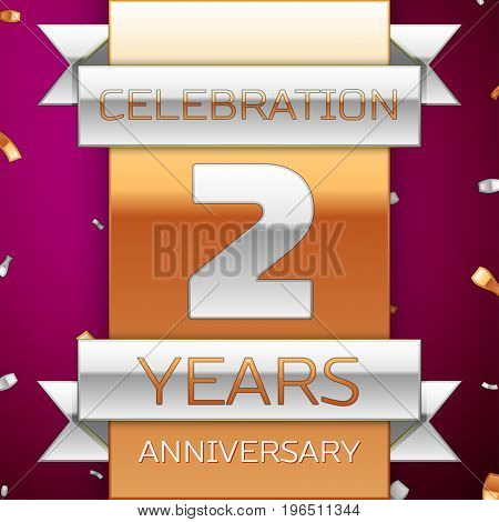 Realistic Two Years Anniversary Celebration Design. Silver and golden ribbon, confetti on purple background. Colorful Vector template elements for your birthday party. Anniversary ribbon