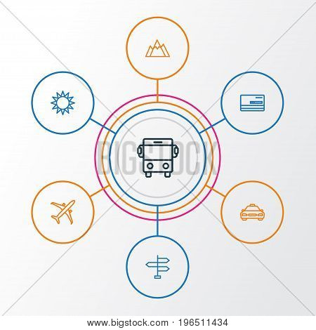Traveling Outline Icons Set. Collection Of Taxi, Hill, Credit And Other Elements