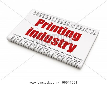 Manufacuring concept: newspaper headline Printing Industry on White background, 3D rendering
