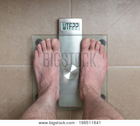 Man's Feet On Weight Scale - Wtf!!!