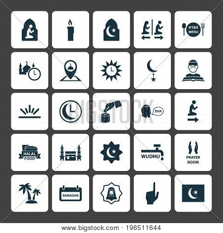 Holiday Icons Set. Collection Of Pinpoint, Crescent, Islamic And Other Elements