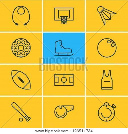 Editable Pack Of Blower, Skipping Rope, T-Shirt And Other Elements. Vector Illustration Of 12 Fitness Icons.