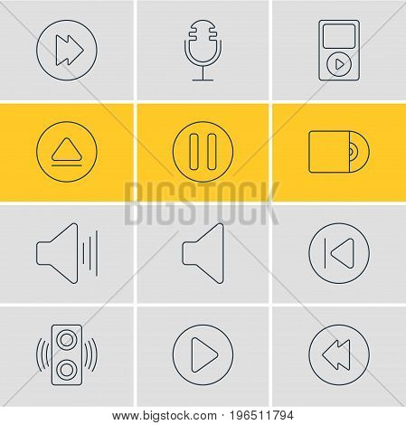 Editable Pack Of Mike, Mp3, Amplifier And Other Elements. Vector Illustration Of 12 Music Icons.