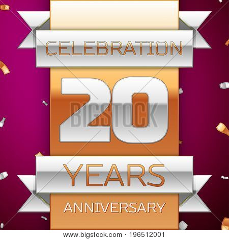 Realistic Twenty Years Anniversary Celebration Design. Silver and golden ribbon, confetti on purple background. Colorful Vector template elements for your birthday party. Anniversary ribbon