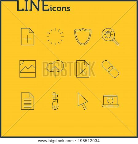 Editable Pack Of Secure Laptop, Document Adding, Pointer And Other Elements. Vector Illustration Of 12 Internet Icons.