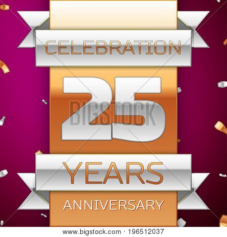 Realistic Twenty five Years Anniversary Celebration Design. Silver and golden ribbon, confetti on purple background. Colorful Vector template elements for your birthday party. Anniversary ribbon