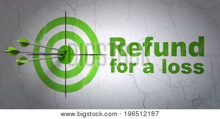 Success Insurance concept: arrows hitting the center of target, Green Refund For A Loss on wall background, 3D rendering