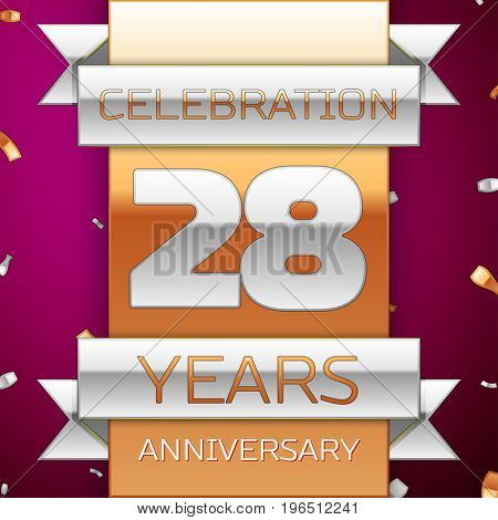 Realistic Twenty eight Years Anniversary Celebration Design. Silver and golden ribbon, confetti on purple background. Colorful Vector template elements for your birthday party. Anniversary ribbon
