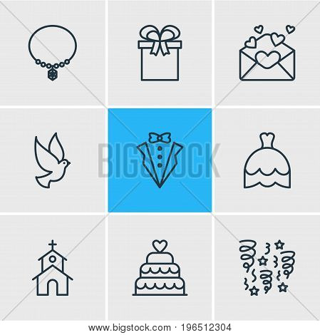 Editable Pack Of Building, Bridegroom Dress, Jewelry And Other Elements. Vector Illustration Of 9 Wedding Icons.