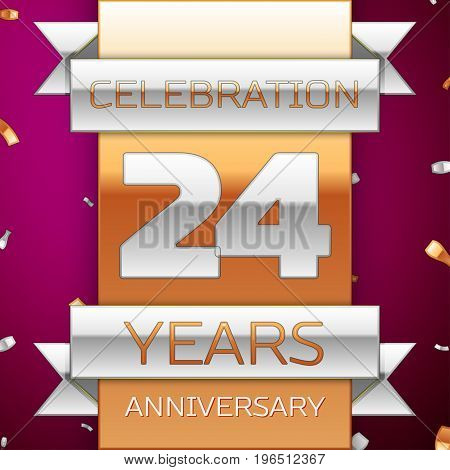Realistic Twenty four Years Anniversary Celebration Design. Silver and golden ribbon, confetti on purple background. Colorful Vector template elements for your birthday party. Anniversary ribbon