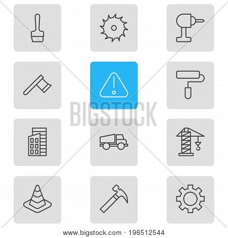 Vector Illustration Of 12 Construction Icons. Editable Pack Of Paintbrush, Roller, Lifting And Other Elements.