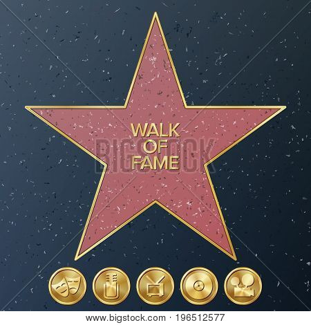 Hollywood Walk Of Fame. Vector Star Illustration.