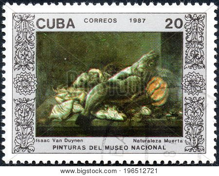 UKRAINE - CIRCA 2017: A postage stamp printed in Cuba shows Still Life of Isaac of Duynen from series Paintings from the National museum of fine arts Havana circa 1987