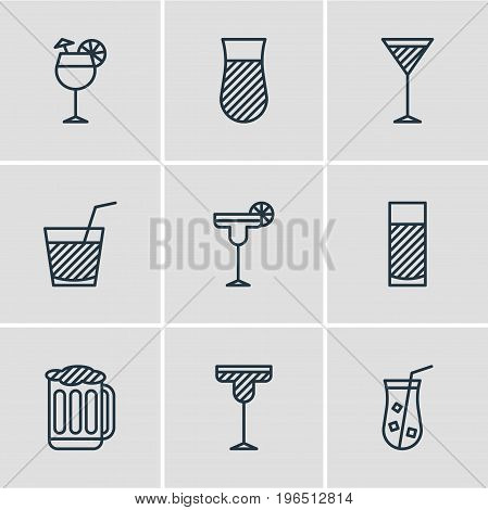 Vector Illustration Of 9 Beverage Icons. Editable Pack Of Martini, Glass, Drink And Other Elements.