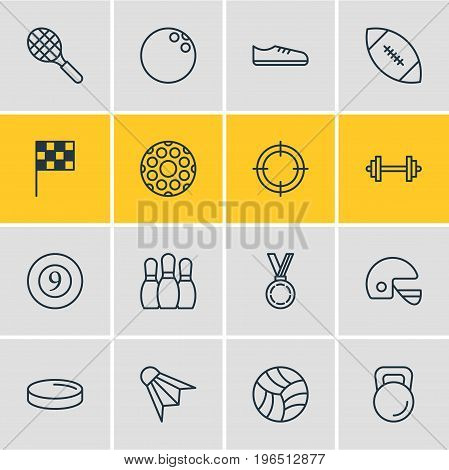 Vector Illustration Of 16 Fitness Icons. Editable Pack Of Touchdown, Badminton, Sniper And Other Elements.
