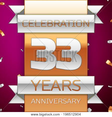 Realistic Thirty three Years Anniversary Celebration Design. Silver and golden ribbon, confetti on purple background. Colorful Vector template elements for your birthday party. Anniversary ribbon