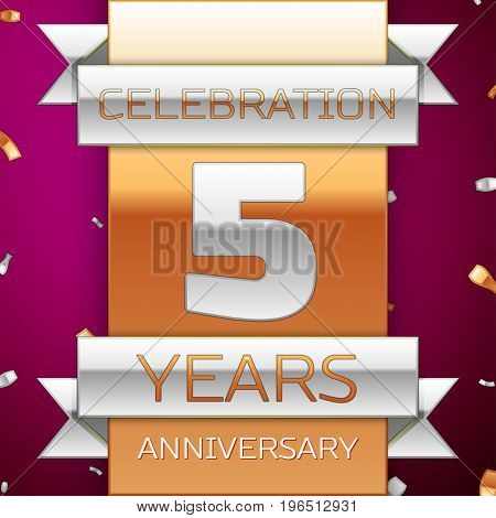 Realistic Five Years Anniversary Celebration Design. Silver and golden ribbon, confetti on purple background. Colorful Vector template elements for your birthday party. Anniversary ribbon