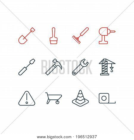 Vector Illustration Of 12 Construction Icons. Editable Pack Of Handle Hit, Lifting, Handcart Elements.