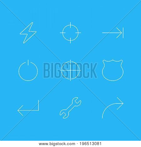 Editable Pack Of Guard, Accsess, Share And Other Elements. Vector Illustration Of 9 UI Icons.