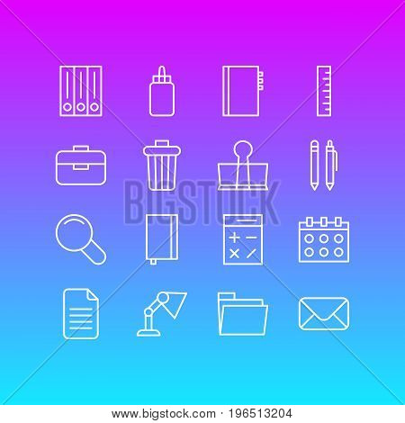 Editable Pack Of Dossier, Textbook, Copybook And Other Elements. Vector Illustration Of 16 Stationery Icons.