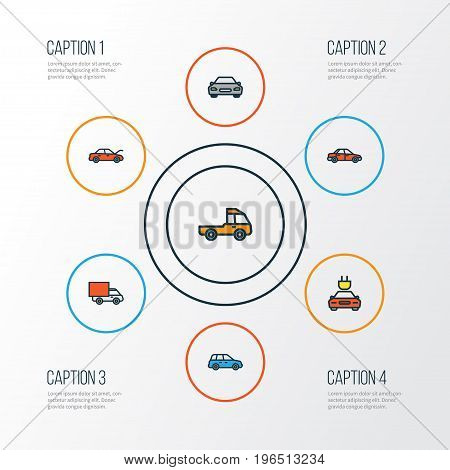 Auto Colorful Outline Icons Set. Collection Of Car, Automobile, Van And Other Elements