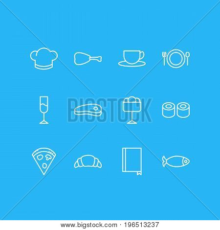 Vector Illustration Of 12 Eating Icons. Editable Pack Of Sundae, Japanese Roll, Bacon And Other Elements.