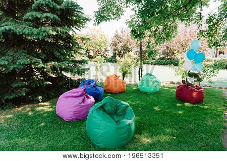 Prepared coloroful beanbags for the outdoor meeting