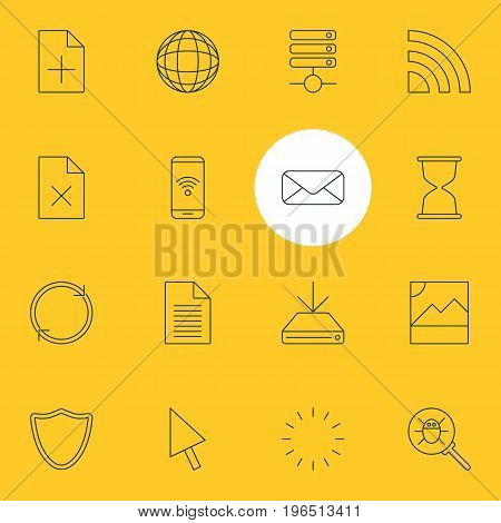 Editable Pack Of Waiting, Letter, Photo And Other Elements. Vector Illustration Of 16 Internet Icons.