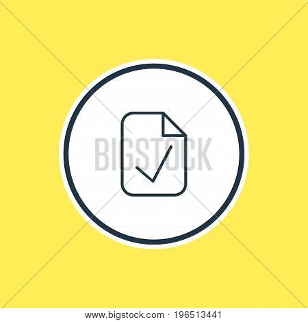 Vector Illustration Of Approve Outline. Beautiful Office Element Also Can Be Used As Done  Element.
